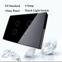 interruptor de luz au touch al por mayor-Al por mayor-Livolo Touch Switch, estándar de los EEUU / AU, interruptor de la luz de pared de 4 cuadrillas, interruptor de la luz de la pantalla táctil del hogar cristalino negro del panel de cristal