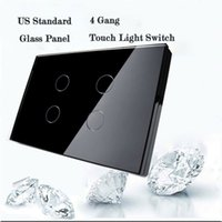 Wholesale Touch Screen Smart Wall Switch - Wholesale-Livolo Touch Switch, US AU Standard ,4 Gang Wall Light Switch,Black Crystal Glass Panel Smart Home Touch Screen Light Switch