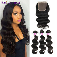 Wholesale Malaysian Swiss Lace Closure - Brazilian Body Wave 3 Extension Bundles With Swiss Lace Closure UNPROCESSED Peruvian Malaysian Indian Virgin Human Hair Wefts Dyeable