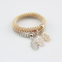 Wholesale Girls Christmas Gift Ideas - Corn Chain Bracelets Ladies Girls Gold Silver  Rose Gold Hamsa Hand Jewelry Gift Idea Stretch Popcorn Bracelets
