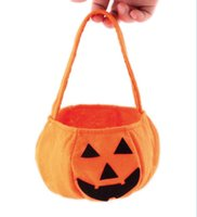 Wholesale Fabric Basket Weaving - Halloween Pumpkin Bags 2017 Halloween pumpkin Bag Children Candy Basket Masquerade Party Performance Props Party Supplies