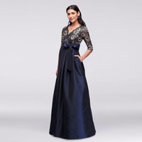 Wholesale Simple Gold Wedding Dres - Floral Lace and Satin Dark Blue 3 4 Sleeves JHDM1501 Mother of the Bridal Dres Wedding Party Dress Formal Dresses