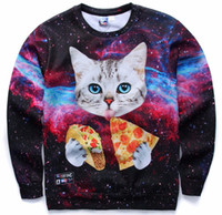 Wholesale White Gray Tiger Cats - Newest style 3d sweatshirts for Women both side print tiger lady Cat sweatshirt top hot thin style hoodies