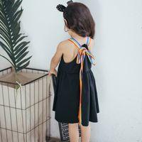 Wholesale Korean Dress Fashion Black Color - Baby Girls Princess Ruffle Dresses Kids Girl Fashion Singlet Dress Babies Summer Korean clothing 2017 childrens clothes