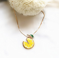 Wholesale Gold Lemon - manufacturers selling gold-plated copper enamel glaze lemon fashion beautiful sweater chain wholesale