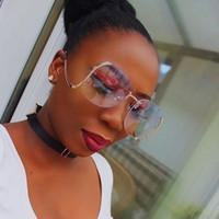 Wholesale vintage optic glass - Wholesale- Pink Gradient Fashion Oval Rimless Sunglasses Women Oversized Clear Lens Optics Sun Glasses Vintage Plain Glasses Retro Eyewear
