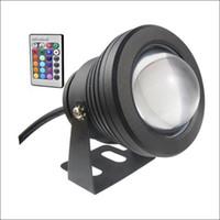 fuente de luz al por mayor-Proyector subacuático LED luz subacuática 10W LED fuente luz DC AC 12V con carcasa de aluminio IP68 1 control remoto IR