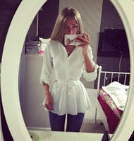 Wholesale Wholesale White Button Down Shirts - New Fashion Casual Dresses Women Clothes Blouse Shirt Long Sleeve Button Down Casual Tops Ladies Slim Dress White Shirt dress OL Clothing