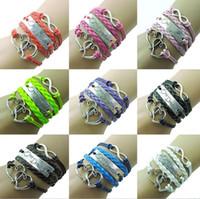 ingrosso ordine delle lettere del braccialetto-Braccialetto di lettere intrecciate a mano doppio braccialetto di amore di alta qualità FB132 ordine della miscela 20 pezzi molto braccialetti di fascino