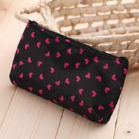 bolsas de cosméticos para el corazón al por mayor-Nueva bolsa de cosméticos coreana bolsa de almacenamiento de maquillaje de corazones pequeños bolsa de cosméticos de moda bolsas de lavado impermeables de viaje