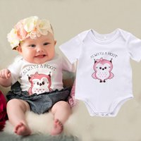 Wholesale Hoot Kid - summer style baby's Toddler Baby Boys girls Infant Romper Kids Jumpsuit white Bodysuit Clothes Always a hoot printed Girl Outfit cotton Set