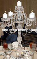 candelabros de vidrio pilar al por mayor-Cristal transparente 5 brazos de cristal mesa de boda centro de mesa candelabro candelabro soporte de flor soporte de la boda pilar