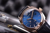 Wholesale Mechanical Time - Top quality dark blue rose gold watchcase Pam 598, GTM two time show, with blue cattle leather