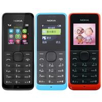 Wholesale Camera Language - Refurbished Original Nokia 105 1050 1.4 inch Screen Unlocked Phone Multi-Language GSM Mobile Phone Black Blue Red 3 Color Free DHL 20pcs