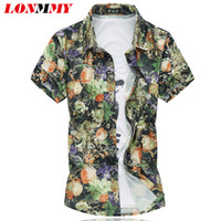 Wholesale Mens Silk Shorts - Wholesale- LONMMY M-6XL Mens plaid shirt dress Slim Flower Casual Silk cotton mens floral shirts Short sleeve High quality 2016