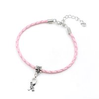 Grossiste-50pcs Espoir Breast Cancer Awareness Ruban Charme Pendentif en cuir Rope Cham Bracelet Fit pour Bracelet Européen Handmade Craft DIY