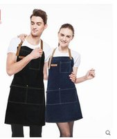 Wholesale Personalized Aprons - Leather Strap Custom Denim Apron for Barbershop Hairdresser Kitchen Men Personalized Print LOGO barbershop coffee Apron