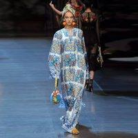 Wholesale Blue White Dress Porcelain - Europe and the United States 2017 chun xia retro dress of blue and white porcelain printing nail bead v-neck long-sleeve split dress dress