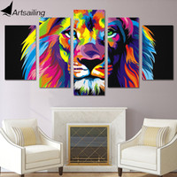 Wholesale Canvas Wall Art Ny - Lion Painting 5 piece Canvas art HD Printed Colorful lion room decoration print poster wall picture canvas Free shipping ny-2527