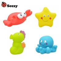 Wholesale Octopus Toy For Babies - Wholesale- Sozzy 4pcs Baby Bath Squirters for the Tub Toy Classic Ocean Baby Toy Starfish Octopus Crab Hippocampus Toy 6M+