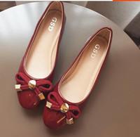 плоская обувь korea новый оптовых-Япония и Южная Корея сладкий бантом нового фонда 2016 осенняя краска плоская круглая голова свет рот большие ярды женской обуви