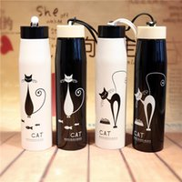 Wholesale Electric Rope - Pretty Cat Stainless Steel Water Bottle Outdoor Sport Portable Straight Thermos Vacuum Flasks with Rope Gift for Lovers