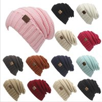 Wholesale Crochet Oversized Hat - CC Knitted Hats CC Trendy Winter Beanie Warm Oversized Chunky Skull Caps Soft Cable Knit Slouchy Crochet Hats Fashion Outdoor Hats YYA257