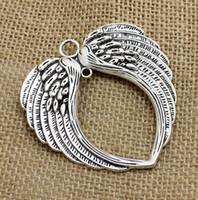 metal takılar toptan satış-30 Adet / grup Vintage Gümüş Melek Kanatları Charms Metal Takı Yapımı Için Büyük Kolye 65 * 69mm