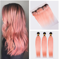Wholesale 1b Pink Human Hair - Ombre Rose Gold 13*4 Full Lace Band Frontal Closure With Brazilian Virgin #1B Rose Pink Human Silk Straight Hair Bundles Double Down Wefts