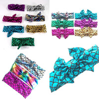 Wholesale Princess Headdress - Girls Mermaid Bow Headbands 2018 Children Fish scale Rabbit ears Hairbands Kids Hair Accessories baby Princess Headdress 22 Colors C2879