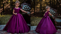 Jewel Ball Gown Bow Satin Floor Length Ruffles Cheap Flower Girl Vestidos Vestidos de noiva Custom Made Cute