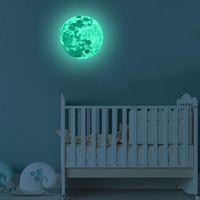 ingrosso stanza della luce della luna-Adesivi luminosi 3D Stereo Super Bright Moon Adesivo da parete incandescente per Kid Room Water Proof Fluorescenza Light Decal 12lf F R