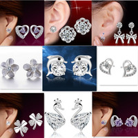 Wholesale Wholesale Silver Bow Earrings - 925 Silver Earrings For Women Natural Crystal Fashion Jewelry Charm Stud Earrings Dolphin Swan Bow Flower Clover Heart Shaped Mix Styles