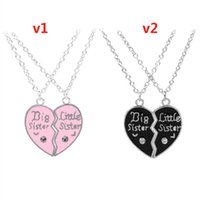 Wholesale Silver Family Necklace - Europe and the United States Big Little Sister letters diamond heart-shaped stitching necklace good sister girlfriend family chain