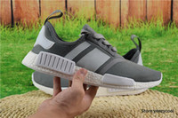 Avec Box 2017 Discount Cheap Wholesale Chaussures de course NMD R1 Runner PK Hommes Femmes Boost New Primeknit Sneakers Dark Grey Free Drop Shipping