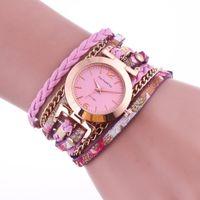 metall kettenuhren großhandel-Damen-Quarzuhr-Legierung Analoge neue Frauen-lange Bügelart-Armbanduhren Hand gesponnene Metallarmbandketten-Kristalluhren