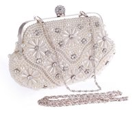 Wholesale Bridal Purse Sale - Pearls Beaded Floral Wedding Bridal Clutch Bag Crystal Ball Clasp Jeweled Formal Occasion Party Prom Purse Sale