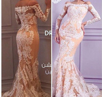 Wholesale 2017 New Sexy Arabic Evening Dresses Off Shoulder Long Sleeves Sheer White Lace Appliques Beaded Pageant Dresses Formal Women Gowns