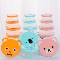 Wholesale Bento Box Gifts - 4pcs set Cute Bear Design Plastic Food Container Bento Sealed Keep Fresh Box For Kids Children Gift School Picnic ZA4804
