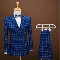 çift göğüslü takım elbise toptan satış-Toptan-Marka Moda Erkek Takım Elbise Balo Blazers Slim Fit Kruvaze Mavi Izgara Damat Gelinlik Erkek Smokin Ceket + pantolon 2 Parça