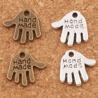 Wholesale Wholesale Pendants Make Jewelry - Hand Made Hand Charms Pendants 13x11mm 200pcs lot Tibetan Silver bronze Fit Bracelets Necklaces Jewelry DIY L370