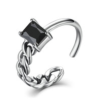 Wholesale mix match rings - Genuine 925 Sterling Silver Opening Adjustable Ring for Women Black Square Stone Mix & Match Brinco Fine Jewelry VSR004