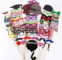 Wholesale Glass Bow Tie - Hot 76pcs set Paper beard DIY Party Photo Masks Photo Beard Glasses Cap Tie Bow Tie On A Stick Wedding Birthday Graduation Party Favor