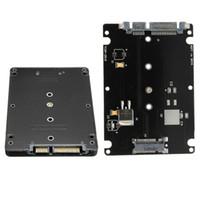 mini sata ssd adaptör toptan satış-Toptan-Dönüştürücü Adaptör Vaka B + M Anahtar Soket 2 M.2 NGFF (SATA) SSD 2.5A SATA Adaptörü Kart Adaptörü Siyah Kılıf ile