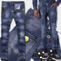 Wholesale Hot Slim Patch - Studs Jeans Man Luxury Brand Hot sale Studs Patch Fading Slim Fit Blue Denim Pants Yellow Metal Logo Patches Skull Brand Free Ship
