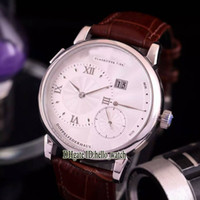 Wholesale Grand Mechanical - High Quality Luxury Brand Grand Lange1 Double house 44MM 101.039 White Dial Automatic Mechanical Men's Watch Leather Strap Mens casual watch