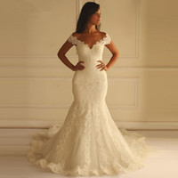 Wholesale Chapel Mermaid Sleeveless - Plus Size Mermaid Wedding Dresses Off The Shoulder Sleeveless Appliques Lace Custom Made Backless Wedding Gowns Chapel Train