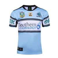 Wholesale Heat Transfer Logo Printing - Free shipping!NRL National Rugby League Cronulla-Sutherland Sharks jersey (team logo stitched!)16 17 High-temperature heat transfer printing