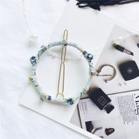 Wholesale Wig Circle - 2017 Hot Sale Korean Cloth Circle With Blue Diamond Hand Made Women Hair Clips Free Shipping Geometry Black Women Hair Pins 435
