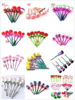 ingrosso spazzole di trucco fiori professionisti-Nuovo set di pennelli per trucco professionale Nuovo set di pennelli per trucco per petali di rosa Kit di ombretti per fondotinta 6 pezzi / set 11 stili disponibili